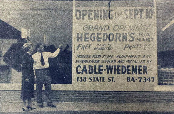 Bruce & Mary outside Hegedorn's prior to opening